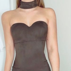 Green, suede, bodycon dress- attached choker. (S)